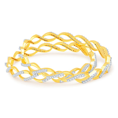 Sukkhi Marquise Gold and Rhodium Plated CZ Bangles-1