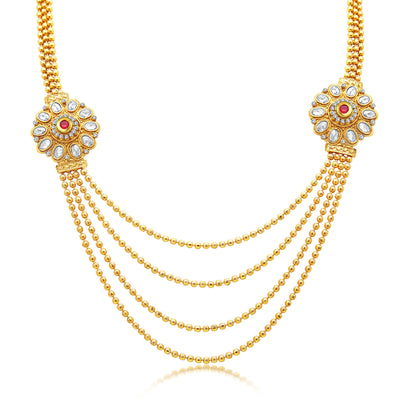 Sukkhi Eye-Catchy Four String Gold Plated AD Necklace Set For Women-1