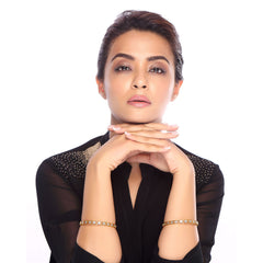 Sukkhi Surveen Chawla Collections Gleaming Gold and Rhodium Plated CZ Bangles