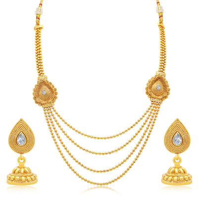 Sukkhi Enchanting Four String Jalebi Gold Plated AD Necklace Set For Women