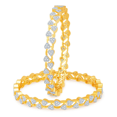 Sukkhi Eye-Catchy Gold and Rhodium Plated CZ Bangles