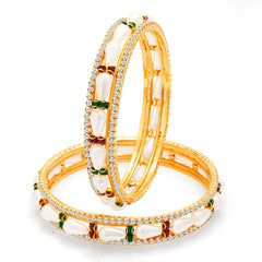 Sukkhi Glorious Gold Plated Pearl AD Bangle For Women