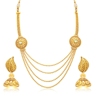 Sukkhi Beguiling Four String Gold Plated Necklace Set For Women