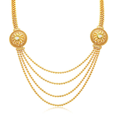 Sukkhi Beguiling Four String Gold Plated Necklace Set For Women-1