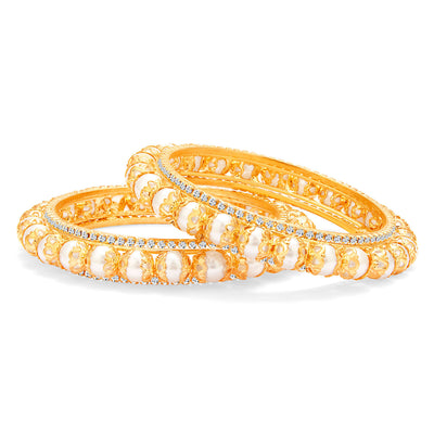 Sukkhi Shimmering Gold Plated Pearl Bangle For Women-1