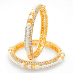 Sukkhi Astonishing Gold Plated Pearl AD Bangle For Women