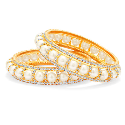 Sukkhi Divine Gold Plated Pearl AD Bangle For Women-1