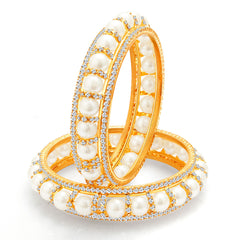 Sukkhi Divine Gold Plated Pearl AD Bangle For Women