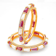 Sukkhi Splendid Gold Plated Crystal Pearl AD Bangle For Women