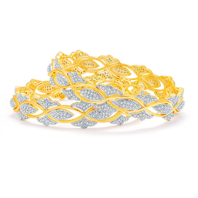 Sukkhi Glittering Gold And Rhodium Plated CZ Bangles For Women-1