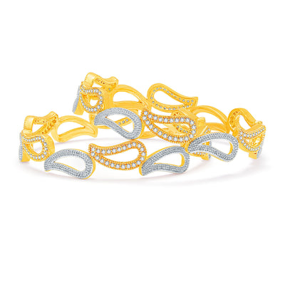Sukkhi Mesmerizing Gold And Rhodium Plated CZ Bangles For Women-1