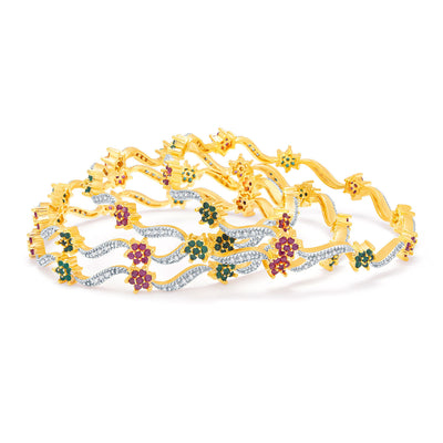 Sukkhi Bewitching Gold And Rhodium Plated Ruby CZ Bangles For Women-1