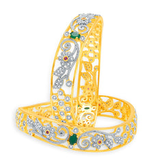 Sukkhi Pretty Gold And Rhodium Plated Emerald CZ Bangles For Women