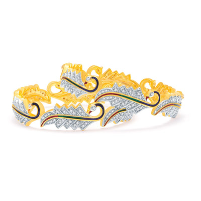 Sukkhi Magnolious Peacock Gold And Rhodium Plated CZ Bangles For Women-1