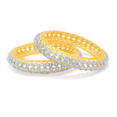 Sukkhi Eminent Gold And Rhodium Plated CZ Bangles For Women-1