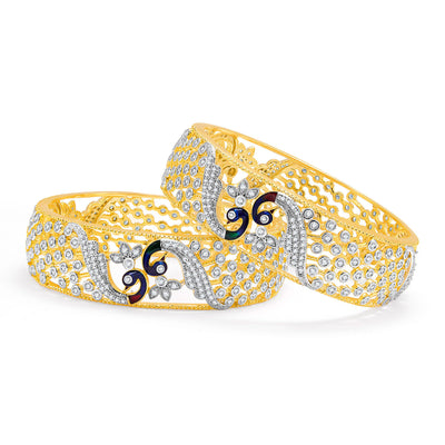 Sukkhi Excellent Peacock Gold And Rhodium Plated CZ Bangles For Women-1