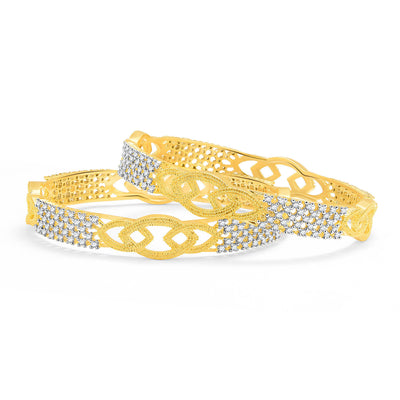 Sukkhi Beguiling Gold And Rhodium Plated CZ Bangles For Women-1