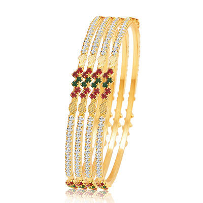 Sukkhi Wavy Gold Plated AD Bangle For Women