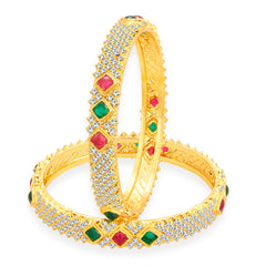 Sukkhi Splendid Kempu Stone Gold Plated AD Bangle For Women