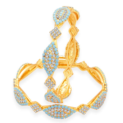 Sukkhi Marquise Firozi Colour Stone Gold Plated AD Bangle For Women