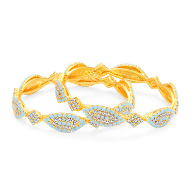 Sukkhi Marquise Firozi Colour Stone Gold Plated AD Bangle For Women-1