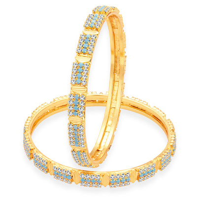 Sukkhi Finely Firozi Colour Stone Gold Plated AD Bangle For Women