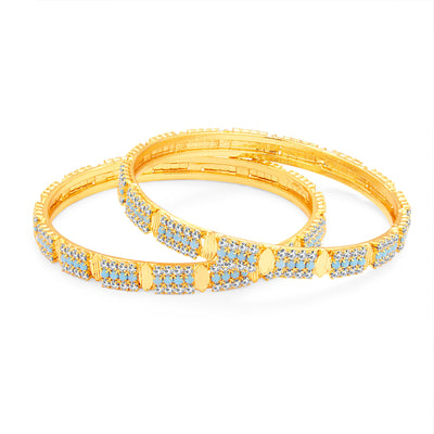 Sukkhi Finely Firozi Colour Stone Gold Plated AD Bangle For Women-1