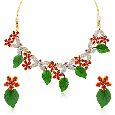 Sukkhi Creative Leaf Hand Painted Gold Plated AD Necklace Set For Women