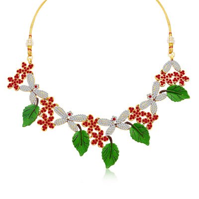 Sukkhi Creative Leaf Hand Painted Gold Plated AD Necklace Set For Women-1