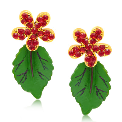 Sukkhi Creative Leaf Hand Painted Gold Plated AD Necklace Set For Women-2
