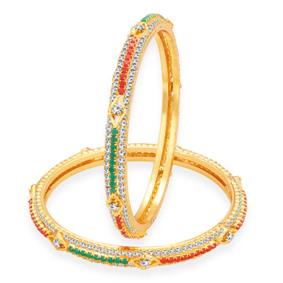 Sukkhi Cluster Gold Plated AD Bangle For Women