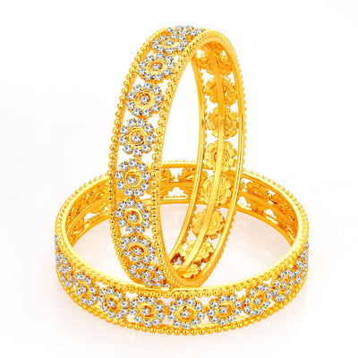 Sukkhi Fancy Gold Plated AD Bangle For Women