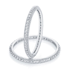 Sukkhi Eye-Catchy Rhodium Plated AD Bangle For Women