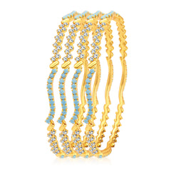 Sukkhi Gleaming Firozi Colour Stone Gold Plated AD Bangle For Women