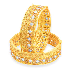 Sukkhi Eye-Catchy Gold Plated American Diamond Bangle For Women