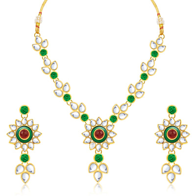 Sukkhi Attractive Flower Gold Plated Necklace Set For Women