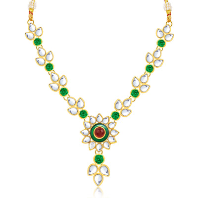 Sukkhi Attractive Flower Gold Plated Necklace Set For Women-1