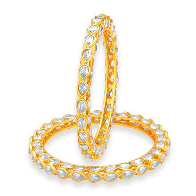 Sukkhi Gorgeous Solitaire Gold Plated American Diamond Bangle For Women