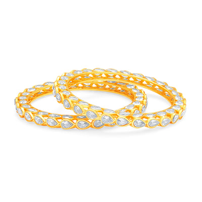 Sukkhi Gorgeous Solitaire Gold Plated American Diamond Bangle For Women-1