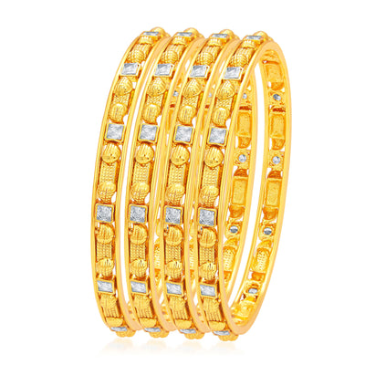 Sukkhi Intricately Crafted Gold Plated American Diamond Bangle For Women