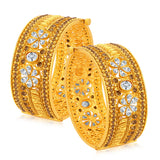 Sukkhi Wavy Gold Plated American Diamond Bangle For Women