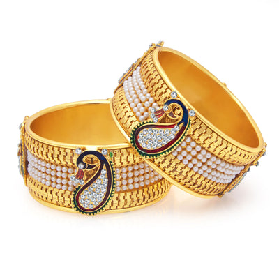 Sukkhi Stylish Peacock Gold Plated Bangle For Women-1
