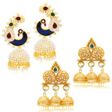 Sukkhi Exquisite Jhumki Gold Plated Set of 2 Pair Earring Combo For Women