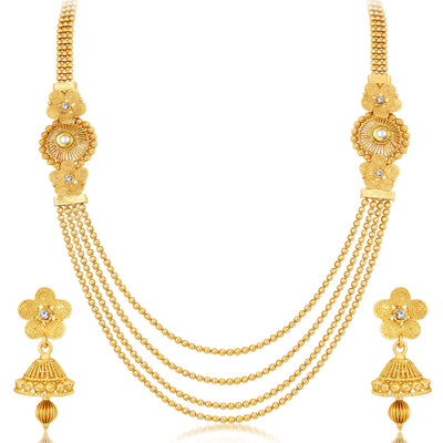 Sukkhi Dazzling Jalebi 4 String Gold Plated Set of 2 Necklace Set Combo For Women-3