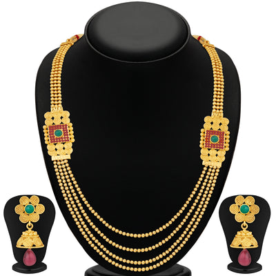 Sukkhi Ravishing Jalebi 4 String Gold Plated Set of 2 Necklace Set Combo For Women-4