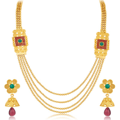 Sukkhi Ravishing Jalebi 4 String Gold Plated Set of 2 Necklace Set Combo For Women-5