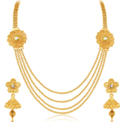 Sukkhi Dazzling Jalebi 4 String Gold Plated Set of 2 Necklace Set Combo For Women-5