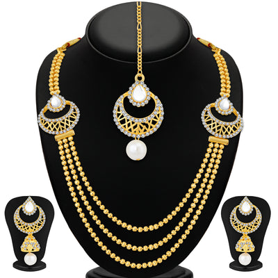 Sukkhi Graceful 3 String Gold Plated Necklace Set For Women