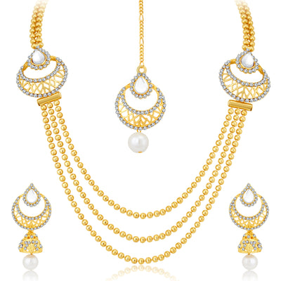 Sukkhi Graceful 3 String Gold Plated Necklace Set For Women-3
