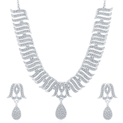 Sukkhi Pleasing Rhodium Plated AD Necklace Set For Women